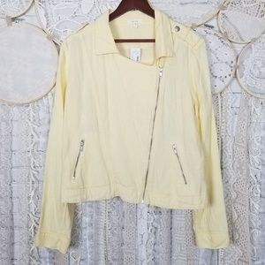 Maurices Womens Yellow Linen Blend Moto Jacket NWT